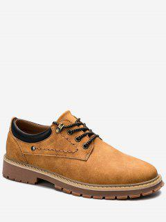 Stitching Lace Up Low Top Casual Shoes - Yellow 42