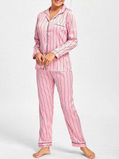 Stripe Satin Shirt Pajama Set - Pink L