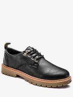 Faux Leather Lace Up Low Top Casual Shoes - Black 43