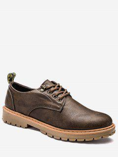 Faux Leather Lace Up Low Top Casual Shoes - Brown 43