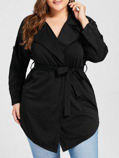 Plus Size Lapel Wrap Trench Coat - Black 2xl