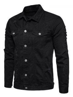 Turndown Collar Button Up Distressed Cargo Jacket - Black 2xl