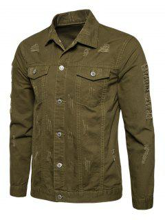 Turndown Collar Button Up Distressed Cargo Jacket - Army Green M
