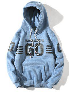 Hooded Graphic Stripe Print Fleece Pullover Hoodie - Sky Blue L