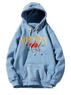 Hooded Graphic Print Fleece Pullover Hoodie - Azure L