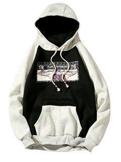 3D Figure Print Applique Zipper Fleece Hoodie - Black 2xl