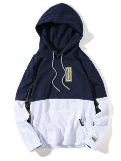 Hooded Color Block Embroidered Appliques Pullover Hoodie - Deep Blue M