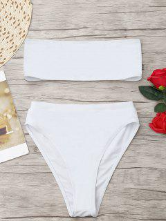Bikini Bandeau à Coupe Haute - Blanc Xl