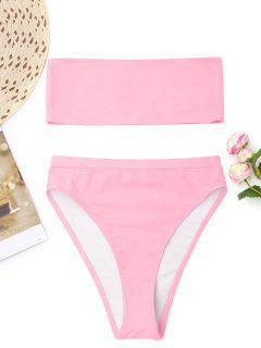 Bralette High Cut Bandeau Bikini - Pink M