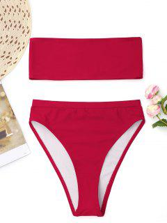 Bralette High Cut Bandeau Bikini - Rot Xl