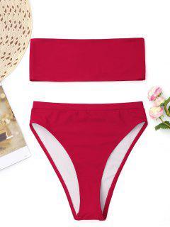 Bikini Bandeau à Coupe Haute - Rouge L