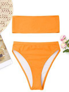Bralette High Cut Bandeau Bikini - Orange  Xl