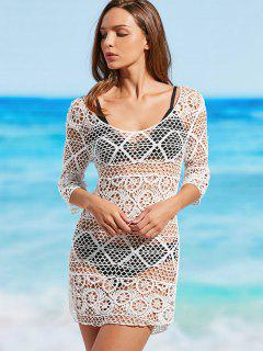 Crochet Scoop Cover Up Dress - Blanc