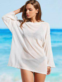 Sheer Knitted Cover Up Top - Off-white