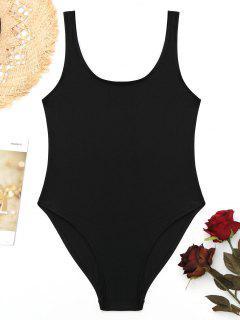 Low Back Shiny One Piece Swimwear - Black M