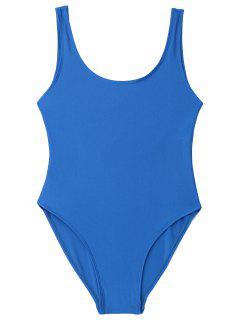 Low Back Shiny One Piece Swimwear - Blue L