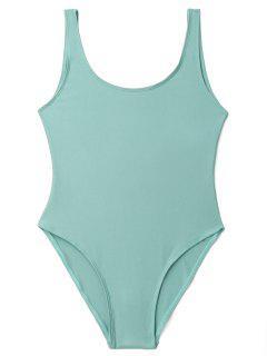 Low Back Shiny One Piece Swimwear - Lake Green L