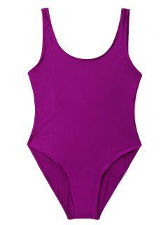 Low Back Shiny One Piece Swimwear - Purple S