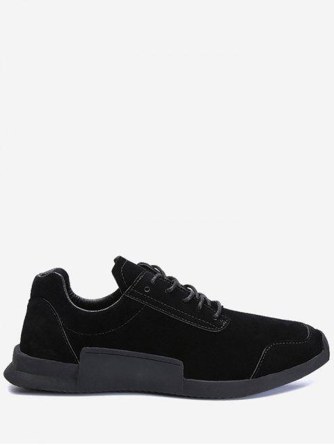 Round Toe Tie Up Sneakers - Noir 40 Mobile