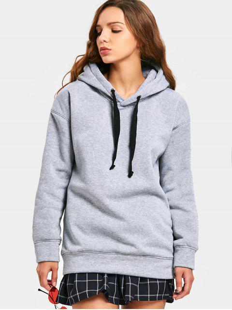 Side Zipper Drawstring Longline Hoodie - Gris XL Mobile