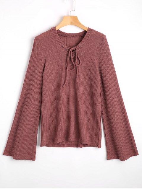 Flare manga cuello en V encaje suéter - Gris Púrpura S Mobile