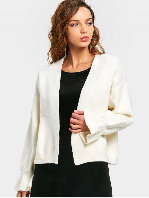Cardigan Sans Boutons à Manches Évasées - Blanc TAILLE MOYENNE Mobile