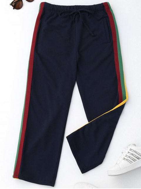 affordable Drawstring Striped Running Pants - PURPLISH BLUE L Mobile