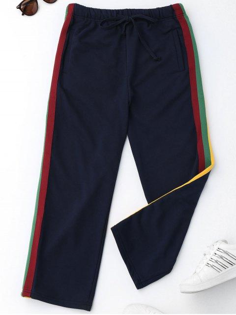 Pantalons à rayures à cordon - Bleu Violet L Mobile