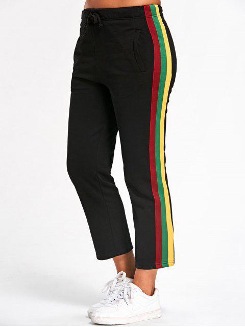 fashion Drawstring Striped Running Pants - BLACK L Mobile