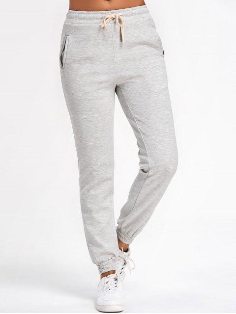 Running Pantalon Jogger Cordon - Gris clair S Mobile