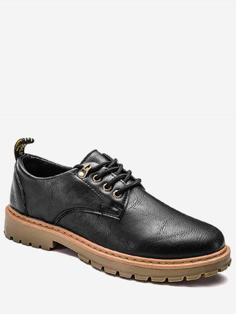 Faux Leder schnüren sich oben niedrige Oberseite beiläufige Schuhe - Schwarz 44 Mobile