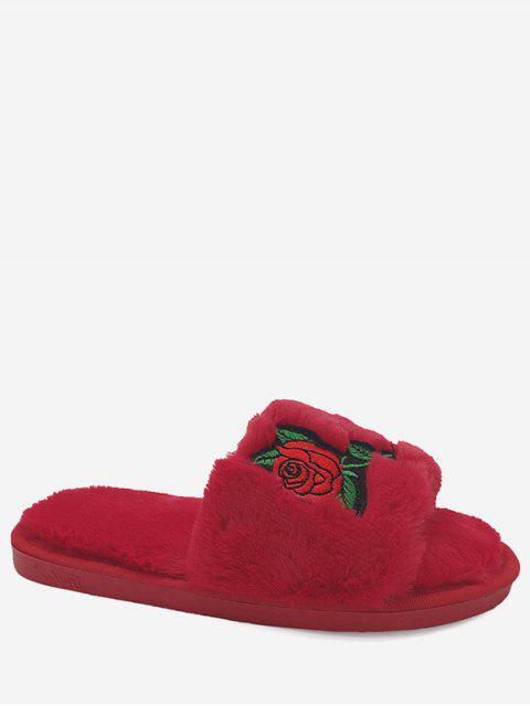 women's Faux Fur Embroidery Flower Open Toe Slippers - RED SIZE(40-41) Mobile