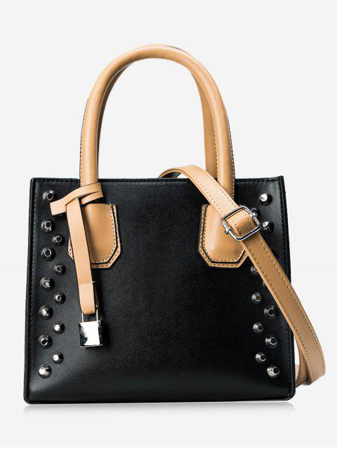 shop Faux Leather Stud Handbag - BLACK  Mobile