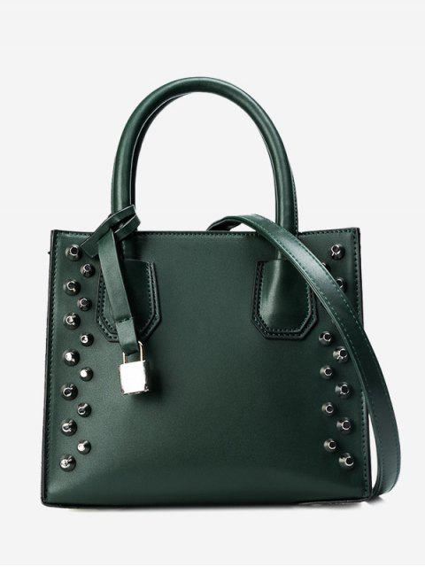 latest Faux Leather Stud Handbag - GREEN  Mobile