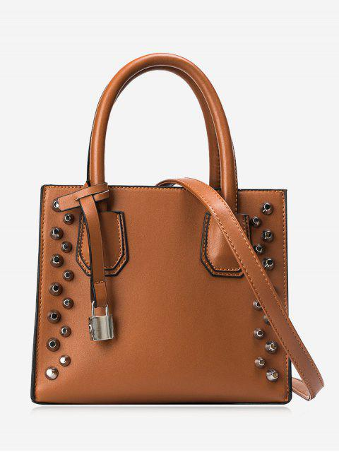 trendy Faux Leather Stud Handbag - BROWN  Mobile