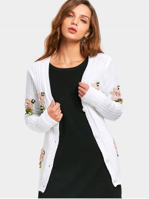Cardigan à fleurs et perles - Blanc Taille Unique Mobile