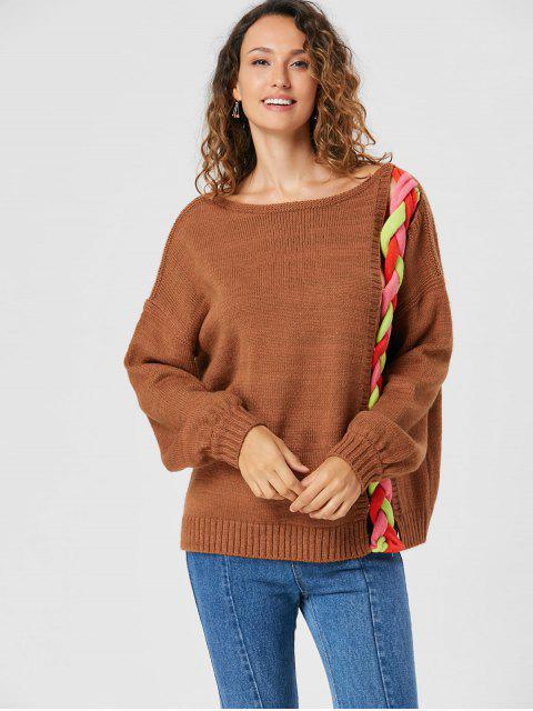 ladies Drop Shoulder Cable Knit Sweater - LIGHT BROWN M Mobile