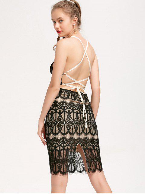 Backless Criss Cross Slip Spitze Kleid - Schwarz Eine Größe Mobile