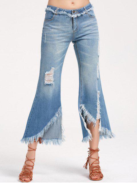 Zerstörte ausgefranste asymmetrische Flare Jeans - Denim Blau M Mobile