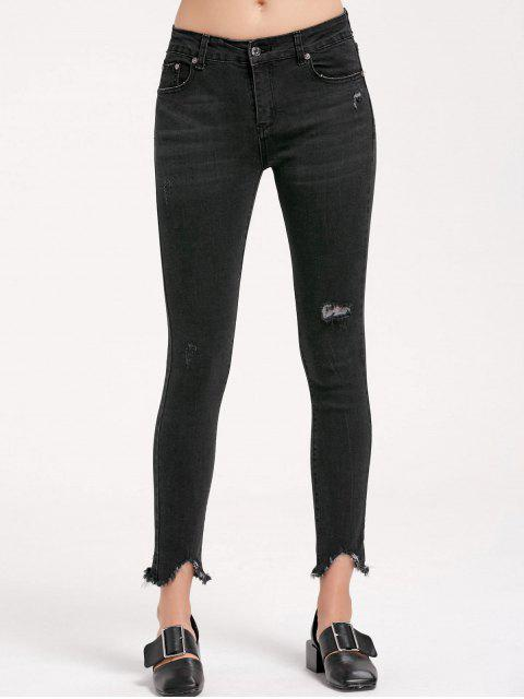 shop Skinny Ripped Frayed Pencil Jeans - BLACK M Mobile