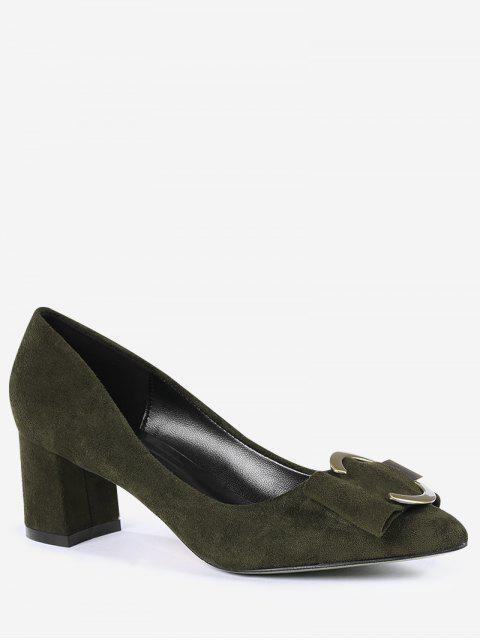 ladies Metal Buckle Strap Pointed Toe Pumps - BLACKISH GREEN 34 Mobile