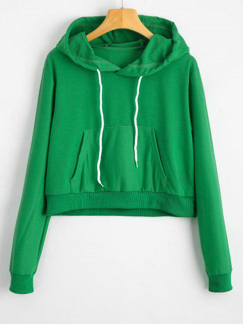 outfits Front Pocket Crop Hoodie - GREEN S Mobile