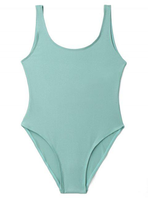 women Low Back Shiny One Piece Swimwear - LAKE GREEN S Mobile