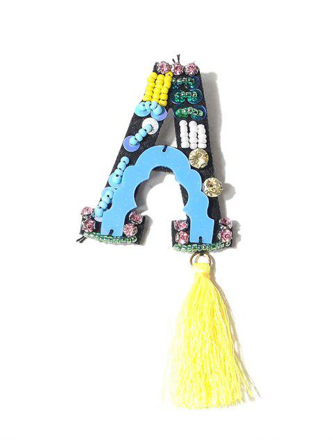 best Tassel Beading Letter A Brooch - YELLOW  Mobile