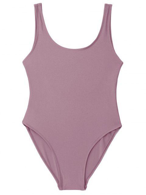 latest Low Back Shiny One Piece Swimwear - PALE PINKISH GREY S Mobile