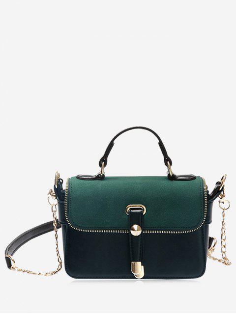 outfit Chain Zip Metal Handbag - GREEN  Mobile