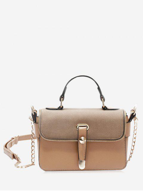 shops Chain Zip Metal Handbag - KHAKI  Mobile