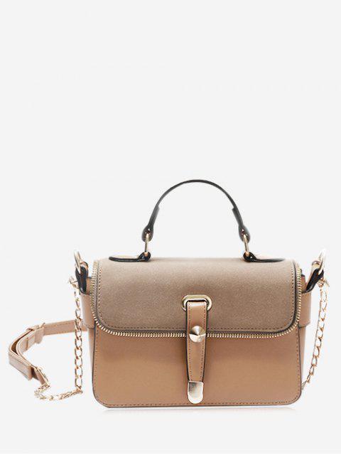 Handtasche mit Metallkette und Reißverschluss - Khaki  Mobile