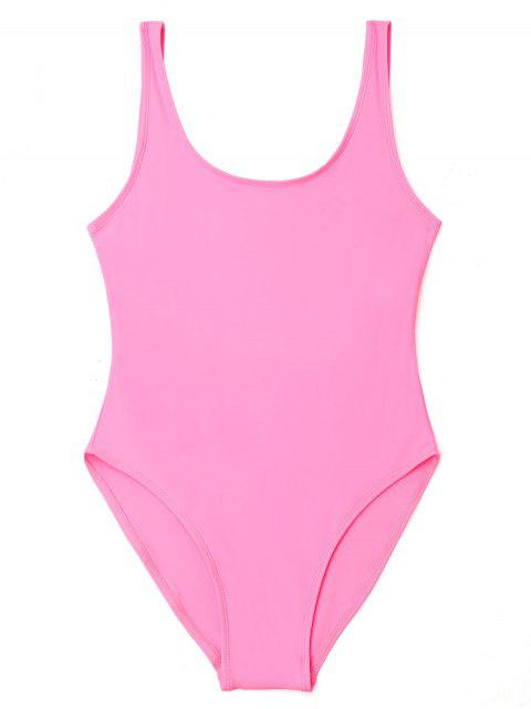 women U Back High Cut One Piece Swimwear - PINK L Mobile