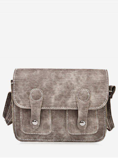 best Stitching Buckle Straps Crossbody Bag - BROWN  Mobile